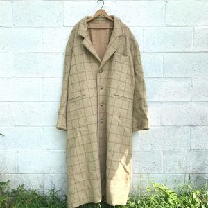 Vintage Big&Tall Plaid Wool Overcoat Trench Coat